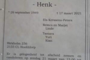 Obituary Henk